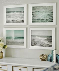 Finishing Touches........... A set of framed beach photos. What a fresh alternative to framed prints of shells or fish to convey 'Beach!' Love this.