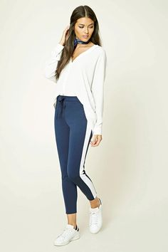 Forever 21 Contemporary - A pair of knit pants featuring side stripes and an elasticized drawstring waist.