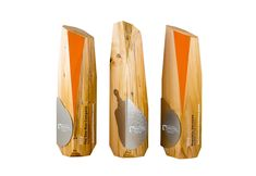 Demolition Association awards / trophies, created from recovered wood; sourced from a demolished building.