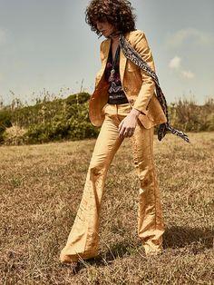Steffy Argelich suits up in yellow Roberto Cavalli pantsuit for TELVA Magazine September 2016