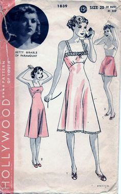 Vintage 1940s Hollywood Betty Grable SLIP & PANTIES Sewing Pattern 1839 Plus Size 20 Bust 38