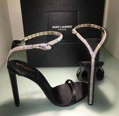 Saint Laurent High Heels with Diamond Snake - Stiletto Shoes Ysl Heels, High Heels, Shoes Heels, Stilettos, Ysl Sandals, Sandal Heels, Silver Sandals, Pumps, Dream Shoes