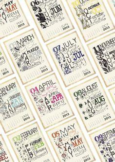 Typographic Calendar by Hayley McMurray, via Behance