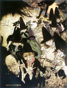 """Arthur Rackham - Mother Goose The Old Nursery Rhymes As I was going to St Ives of I love that the """"I"""" here is Rackham himself! Arthur Rackham, Poster Prints, Framed Prints, Canvas Prints, Old Nursery Rhymes, Art Et Illustration, Art Illustrations, Mother Goose, Gloss Matte"""