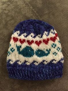 I Whale Always Love You is a fun, fair isle hat inspired by my friend Emily who is due with a baby boy December of Knitting Charts, Baby Knitting Patterns, Knitting Socks, Hand Knitting, Knitted Hats, Knitting For Kids, Knitting Projects, Knitting Ideas, Whale Pattern