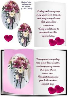 Wedding book card on Craftsuprint designed by Terri Hawley - A beautiful card for a couple getting married. VerseToday and every day, may your love deepen,and my every dream that you share come true. Congratutations to you both on this special day. - Now available for download!