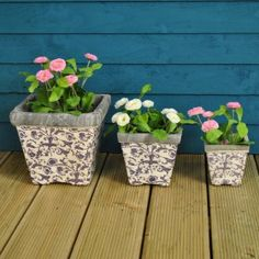Set of 3 Aged Ceramic Square Flower Pots