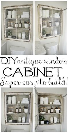 DIY Bathroom Decor Ideas - DIY Antique Window Bathroom Cabinet - Cool Do It Yourself Bath Ideas on A Budget, Rustic Bathroom Fixtures, Creative Wall Art, Rugs, Mason Jar Accessories and Easy Projects - Home Decor Antique Windows, Vintage Windows, Old Windows, Furniture Projects, Diy Furniture, Rustic Furniture, Vintage Furniture, Furniture Storage, Bedroom Furniture