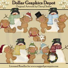 Boo Boo Bears - Winter Frolic - Clip Art - $1.00 : Dollar Graphics Depot, Quality Graphics ~ Discount Prices