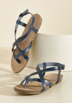 Everyday Nonchalance Sandal in Midnight by Blowfish - Blue, Solid, Casual, Beach/Resort, Boho, Minimal, Spring, Summer, Flat, Good, Slingback, Strappy, Variation, Blue, Saturated