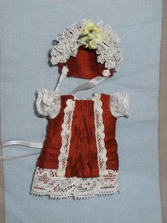 Antique style outfit terracotta natural silk for mignonette or tiny antique doll