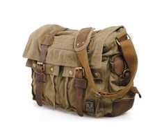 Men's Military Canvas Leather Satchel School Laptop Shoulder Messenger Bag Features Condition: New Material: Canvas with Leather Colour: Green,Army Green,Army Grey,Tan Dimensions: x x x x CM. Bags Online Shopping, Online Bags, Leather Camera Bag, Leather Satchel, Men's Leather, Real Leather, Postman Bag, Hiking Bag, Moda Casual