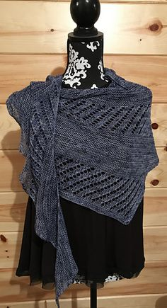 Ravelry: Blue Jean Saturday pattern by O/C Knitiot Designs - Deby Lake Lace Knitting Patterns, Shawl Patterns, Knitting Designs, Free Knitting, Knitted Shawls, Crochet Scarves, Crochet Shawl, Knit Crochet, Knit Cowl