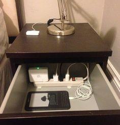 hiding eyesores - power strip drawer