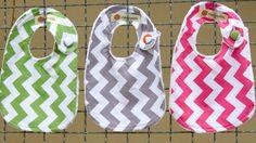 Chevron Baby Girl Bibs  Set of Three You Choose by dapperdillsbaby, $25.00