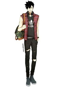 Kuroo in casual clothes  milkybreads.tumblr.com