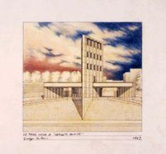 """Giuseppe De Boni, Laboratorio di progettazione di Cerreto Sannita, 1988, """"La torre civica di Cerreto Sannita"""", 1989, Matita, pastelli su carta da lucido, 24x30 cm. #sketch"""