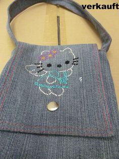 Tasche aus alter Jeans - Hello Kitty