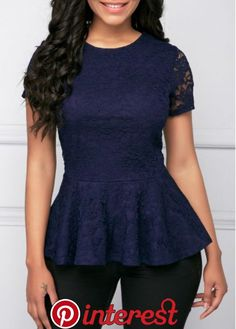 Who doesn't love a peplum top! They're flattering and the small kick out skirt is so dressy! The gorgeous navy lace is Short Sleeve Round Neck Peplum Lace Blouse is stunning and so elegant. My new favorite blouse! Trendy Tops For Women, Blouses For Women, Blouse Styles, Blouse Designs, Peplum Top Outfits, Style Feminin, Western Dresses, Lace Tops, Classy Outfits