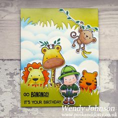 A card made using the free stamps from Papercraft Essentials called Safari Friends