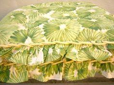 SOLD Anthropologie seat cushions. Fun vintage design, green & yellow. #ebay
