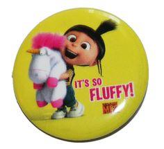 Despicable Me Agnes Fluffy Button Pin $1.29