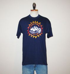 Vintage 80's Deadstock Sun Valley Skiing Graphic Navy Blue T-Shirt - Size MEDIUM