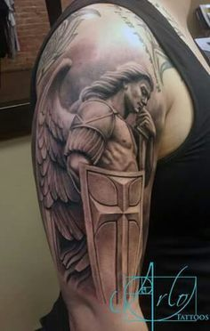 Religious Tattoos For Guys Archangel Michael Tattoo, St Michael Tattoo, Trendy Tattoos, Tattoos For Guys, Cool Tattoos, Tatoos, Men Tattoos, Body Art Tattoos, Sleeve Tattoos