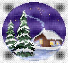 Winter Landscape, free cross stitch pattern from Alita Designs Cross Stitch House, Xmas Cross Stitch, Cross Stitch Christmas Ornaments, Cross Stitch Art, Christmas Embroidery, Christmas Cross, Cross Stitching, Cross Stitch Embroidery, Modern Cross Stitch Patterns