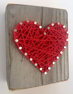 Sweet and small wooden rustic red string art heart block for Father's Day, Wedding, Anniversary, Valentine's Day, Christmas, House Warming, New Baby and just because gift. -- You can find more details by visiting the image link. (This is an affiliate link and I receive a commission for the sales)