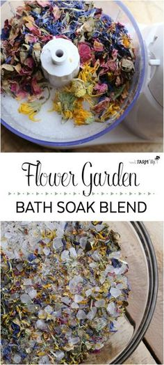 Flower Garden Bath Soak - This beautiful soak, filled with colorful flowers and a pretty floral scent, is reminiscent of a walk through a flower garden on a lovely spring day. You can use any combination of dried flowers that you like. For this batch shown, I used calendula, cornflower and rose petals.