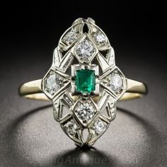 Emerald and Diamond Art Deco Dinner Ring