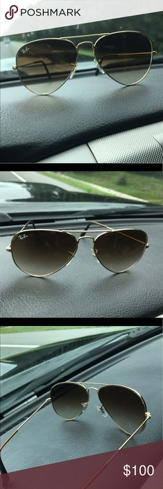 Women's Ray Ban Gold framed Aviator Sunglasses Women's Ray Ban Gold framed Aviator Sunglasses LIKE NEW Ray-Ban Accessories Sunglasses