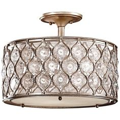 "Feiss Lucia 16"" Wide Crystal Glass Ceiling Light"