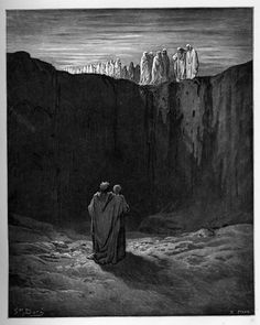 Purgatory: Band of souls around the wall of rock. Creator: Doré, Gustave Date: c.1868