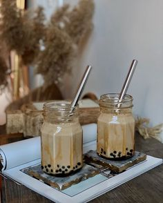 Loving this homemade Brown Sugar Boba Milk Tea by 💖⁣⁠ ⁣⁠ Has anyone attempted to make some homemade Boba tea? Colorful Desserts, Tuna Cakes, Tea Cocktails, Bubble Stickers, Keep Calm And Drink, Cafe Menu, Pastry Shop, The Breakfast Club, Bubble Tea