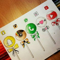 Social media lollipop drawing