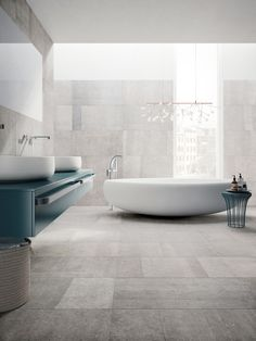Inspired by the dark and vivid hues of Belgian Bluestone, Blue Emotion from Emser Tile exudes a richness and depth brought forth by subtle nuances of cool tones. Bathroom Floor Tiles, Modern Bathroom, Tile Floor, Bathroom Mirrors, Master Bathroom, Blue Bathrooms, Wall Tiles, Bad Inspiration, Bathroom Inspiration
