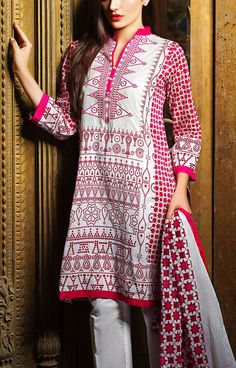 Buy Pink Embroidered Cotton Lawn Dress by Khaadi Lawn Collection 2015.