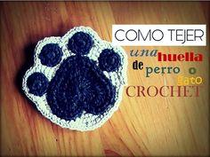 COMO TEJER una huella de perro o gato a CROCHET (diestro) - YouTube Gato Crochet, Crochet Bows, Love Crochet, Cotton Cord, Yarn Inspiration, Print Patterns, Crochet Earrings, Applique, Diy Crafts