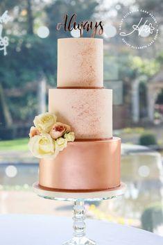 Luxury wedding cakes & dessert tables in Hampshire & beyond - Luxury rose gold wedding cake, shimmer cake, fondant icing, luxury wedding cake, elegant wedding ca - Textured Wedding Cakes, Blush Wedding Cakes, Wedding Cake Prices, Luxury Wedding Cake, Elegant Wedding Cakes, Wedding Cake Designs, Wedding Cupcakes, Cake Wedding, Wedding Gold