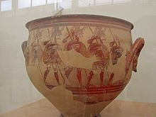 MYCENAEAN. Fully armed warriors. Detail from the Warrior Vase, a Pictorial Style krater discovered by Schliemann at Mycenaean in a house on the acropolis. Height: 41 cm. Date: 1200-1100 BC. Athens, National Archaeological Museum. Photo by Adam Carr.