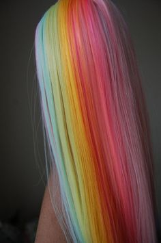 Rainbow reroot (left side) - Hair and beauty - Pretty Hair Color, Beautiful Hair Color, Pelo Multicolor, Teal Hair, White Hair, Aesthetic Hair, Hair Dye Colors, Hair Colour, Dye My Hair