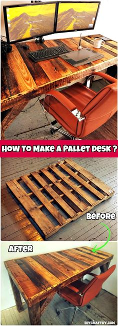 Best DIY Pallet Projects and Pallet Furniture Ideas 150 Best DIY Pallet Projects and Pallet Furniture Crafts - Page 28 of 75 - DIY amp; Best DIY Pallet Projects and Pallet Furniture Crafts - Page 28 of 75 - DIY amp; Pallet Desk, Wooden Pallet Projects, Pallet Crafts, Diy Crafts, Diy Palettenprojekte, Easy Diy, Diy Pallet Table, Pallet Work Bench, Pallet Projects Instructions