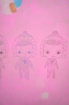 Katja Tukiainen, Kaksi ja puoli toppapukuista, Oil and pencil on board, 2005 Girl Power, Finland, It Works, Character Design, Colours, Texture, Illustration, Prints, Pencil