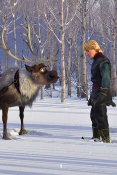 Sven and Kristoff sad about leaving Anna.