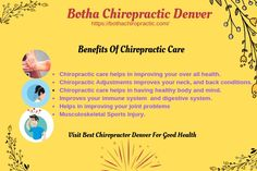 Chiropractic care helps in adjusting your neck pain, back, head etc. For more information about best Chiropractors in Denver visit on the given link. rated chiropractors in the Denver area rated chiropractors in Denver Benefits Of Chiropractic Care, Best Chiropractor, Chiropractic Adjustment, Denver Area, Thing 1, Neck Pain, Chronic Pain, Immune System, Top Rated