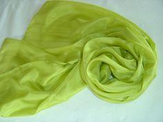 Seidenschals - Seidenschal limone Pongee Schal - ein Designerstück von textilkreativhof bei DaWanda