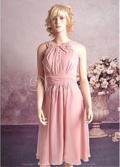 Stunning Chiffon Sheath High Collar Bridesmaid Dress