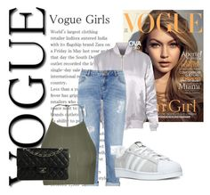 """Vogue girls"" by abecic3 ❤ liked on Polyvore featuring Miss Selfridge, Topshop, adidas and Chanel"